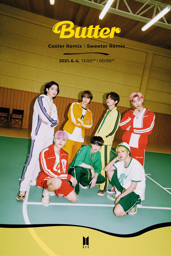 The teaser image for BTS's ″Sweeter″ and ″Cooler″ remixes of its latest single ″Butter″ [BIG HIT MUSIC]