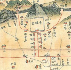 A 19th-century ″Map of the Capital City″ featuring Gyeongbok Palace and the government offices along Yukjogeori. [KYUJANGGAK INSTITUTE FOR KOREAN STUDIES]