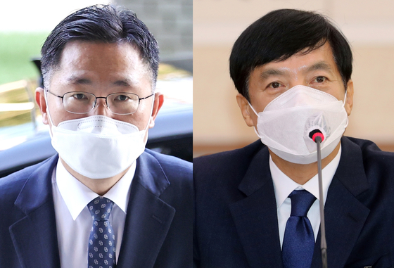From left, Lee Jeong-su, a key aide to Minister Park, and Lee Sung-yoon, chief prosecutor of Seoul Central District Prosecutors' Office. Lee Jeong-su has been promoted to replace Lee Sung-yoon, and Lee Sung-yoon has been promoted as chief prosecutor of Seoul High Prosecutors' Office as of Friday. [YONHAP]