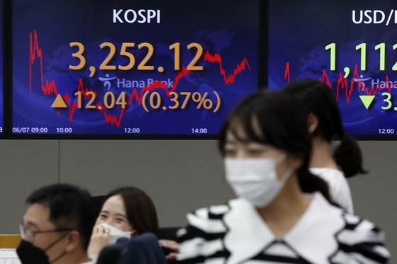 A screen in Hana Bank's trading room in central Seoul shows the Kospi closing at 3,252.12 points on Monday, up 12.04 points, or 0.37 percent, from the previous trading day. [NEWS1]