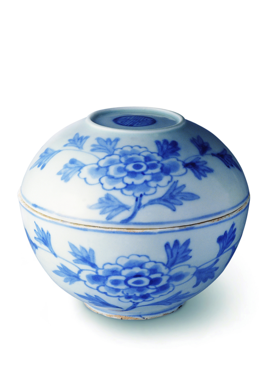 """""""Blue and White Porcelain Lidded Bowl with Peony Design"""" from the 19th century [COREANA MUSEUM OF ART]"""