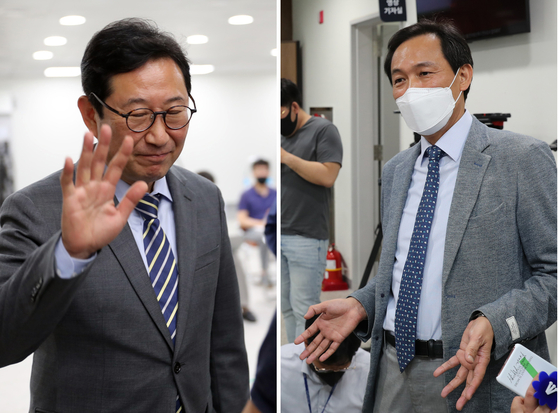 Kim Han-jung (left) and Woo Sang-ho speak separately to the media after the Democratic Party announced it had asked the two lawmakers to leave the party and face investigation for suspicions that they engaged in illegal real estate activities. 10 other ruling party lawmakers face the same request. [YONHAP]