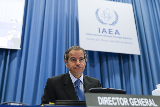 Rafael Grossi, director general of the International Atomic Energy Agency (IAEA), speaks at an IAEA Board of Governors meeting in Vienna, Austria, Monday. [AP/YONHAP]