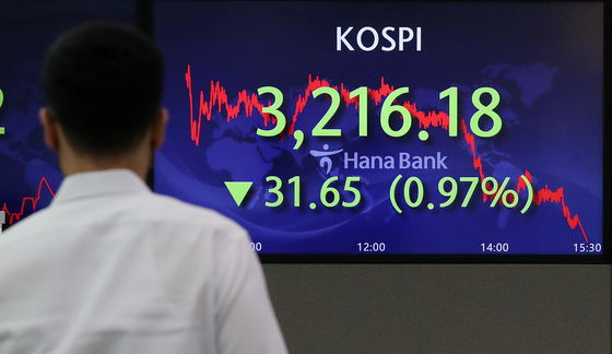 A screen in Hana Bank's trading room in central Seoul shows the Kospi closing at 3.216.18 points on Wednesday, down 31.65 points, or 0.97 percent, from the previous trading day. [NEWS1]