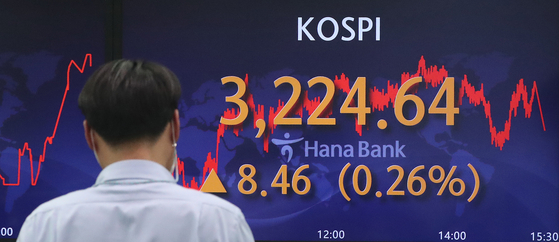 A screen in Hana Bank's trading room in central Seoul shows the Kospi closing at 3,224.64 points on Thursday, up 8.46 points, or 0.26 percent, from the previous trading day. [NEWS1]