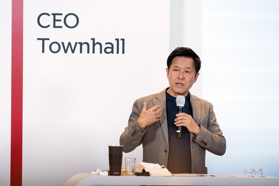 SK Telecom CEO Park Jung-ho shares plans to divide the company into two entities during an online presentation in April. [SK TELECOM]