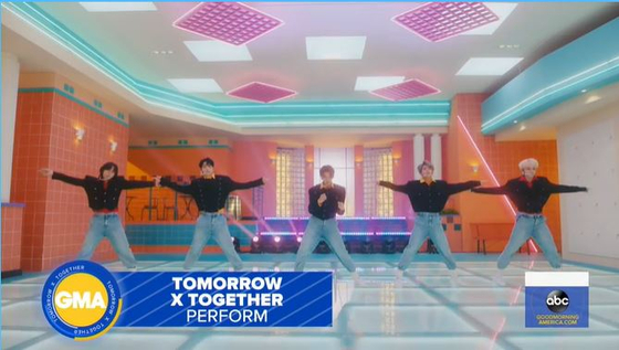 Tomorrow X Together performs ″Magic″ for the first time on ″Good Morning America″ on June 10. [SCREEN CAPTURE]