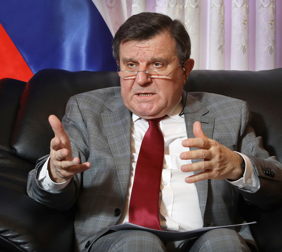Andrey Kulik, ambassador of Russia to Korea, speaks with the Korea JoongAng Daily at the embassy in Seoul on April 29. [PARK SANG-MOON]