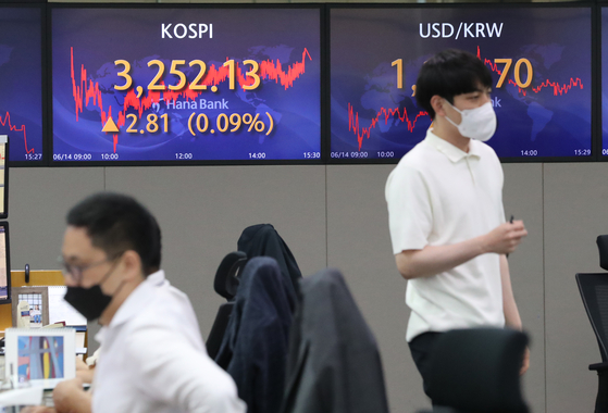 A screen in Hana Bank's trading room in central Seoul shows the Kospi closing at 3,252.13 points on Monday, up 2.81 points, or 0.09 percent, from the previous trading day. [YONHAP]