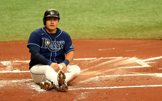 Choi Ji-man of the Tampa Bay Rays reacts to scoring a run in the first inning during a game against the Kansas City Royals at Tropicana Field on May 27. [AFP/YONHAP]