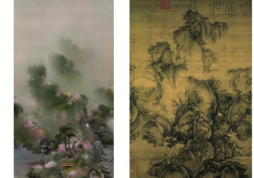 """""""Early Spring Drawing-Four Seasons 2"""" (2011) by Lee Lee-nam, left, has been recreated from """"Early Spring"""" (1072) by Guo Xi of the Song Dynasty (960-1279). [LEELEENAM STUDIO, CHINA ONLINE MUSEUM]"""