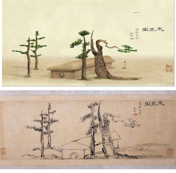 """""""2009 New Winter in Miniature"""" (2009) by Lee Lee-nam, top, took borrows from """"Sehando (Winter Scene)"""" by painter Kim Jeong-hui created during the Joseon era (1392-1910). [LEELEENAM STUDIO, CULTURAL HERITAGE ADMINISTRATION]"""