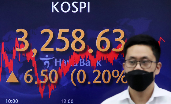A screen in Hana Bank's trading room in central Seoul shows the Kospi closing at 3,258.63 points on Tuesday, up 6.5 points, or 0.2 percent, from the previous trading day. [NEWS1]