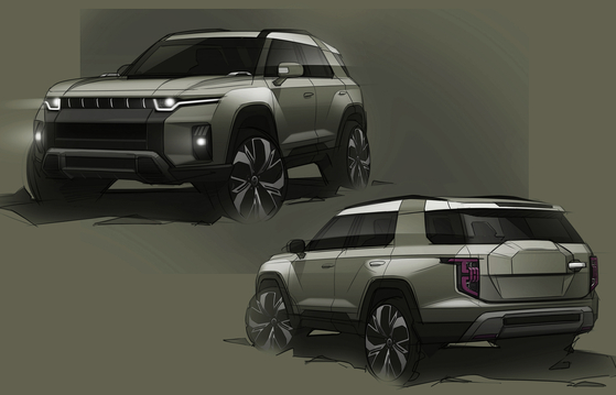 A sketch of SsangYong Motor's new midsize SUV model, known by project name J100. [SSANGYONG MOTOR]