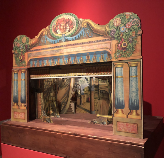 An example of a puppetry stage set up at the exhibition on Czech puppetry at the Seoul Museum of History. [ESTHER CHUNG]
