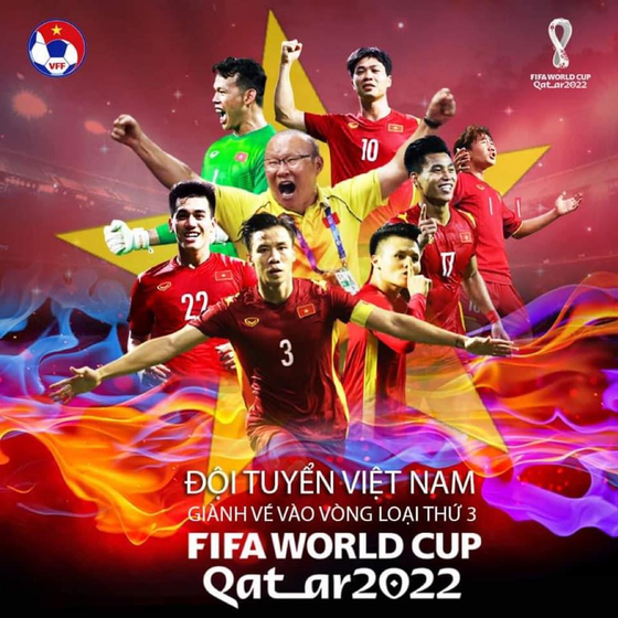 A social media post from the Vietnam Football Federation congratulates the Vietnamese national football team and Park Hang-seo, center, for reaching the third round of Asian qualifiers for the 2022 Qatar World Cup. [YONHAP]