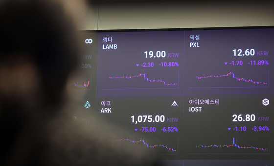 Cryptocurrency prices are displayed on a digital screen at Upbit's office in Gangnam, southern Seoul, on Monday. Upbit announced on Friday that 24 cryptocurrencies including Lambda, Pixel and Pica will be delisted. The 24 virtual assets will be removed on June 28, 12 p.m. [YONHAP]