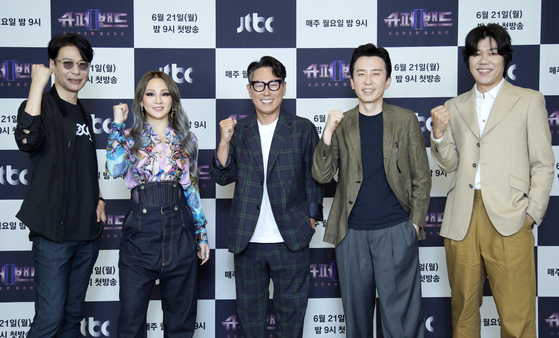 Judges for new JTBC's audition program ″Super Band 2.″ From left: Yoon Sang, CL, Yoon Jong-shin, Yoo Hee-yeol and Lee Sang-soon. [JTBC]