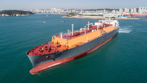 A liquefied natural gas carrier built by Hyundai Heavy Industries [KOREA SHIPBUILDING & OFFSHORE ENGINEERING]