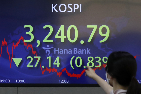 A screen in Hana Bank's trading room in central Seoul shows the Kospi closing at 3,240.79 points on Monday, down 27.14 points, or 0.83 percent, from the previous trading day. [NEWS1]