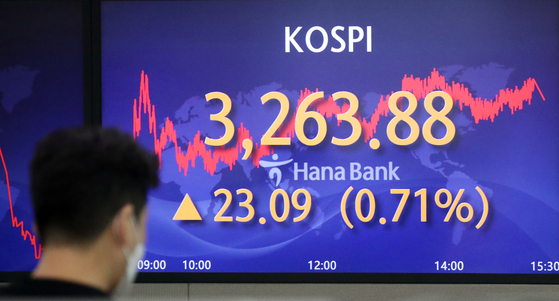 A screen in Hana Bank's trading room in central Seoul shows the Kospi closing at 3,263.88 points on Tuesday, up 23.09 points, or 0.71 percent, from the previous trading day. [NEWS1]