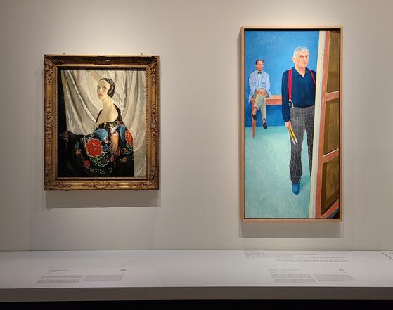 ″ Self-Portrait ″ (1929) by Scottish costume and stage designer Doris Zinkeisen, left, and ″ Self-portrait with Charlie ″ (2005) by famous English artist David Hockney. [MOON SO-YOUNG]
