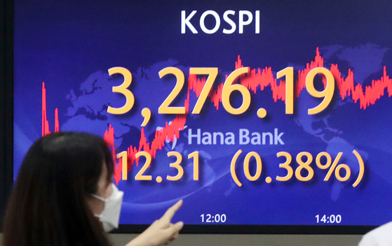 A screen in Hana Bank's trading room in central Seoul shows the Kospi closing at 3,276.19 points on Wednesday, up 12.31 points, or 0.38 percent, from the previous trading day. [NEWS1]