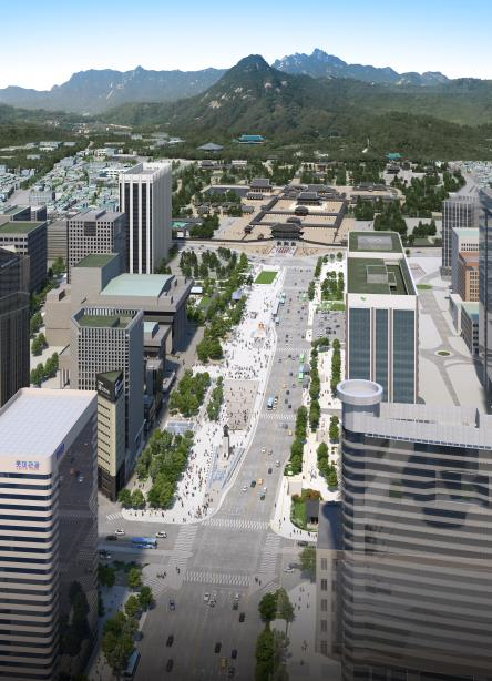 A rendering of how Gwanghwamun Square will look like following the completion of its renovation. [SEOUL METROPOLITAN GOVERNMENT]