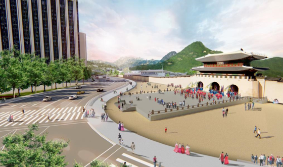 An image of the Gwanghwamun Gate where the woldae (terrace) is restored. [SEOUL METROPOLITAN GOVERNMENT]
