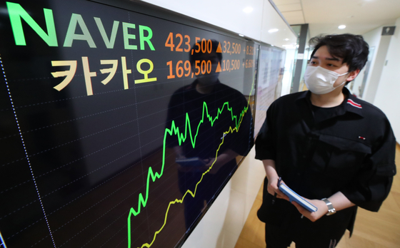 A digital screen operated by Yonhap Infomax in Jongno District, central Seoul, shows the closing prices of Naver and Kakao stocks on the Kospi on Wednesday. Naver closed at 423,500 won ($372.60), up 8.31 percent from the previous trading day, while Kakao closed at 169,500 won, up 6.6 percent. The two companies' shares hit a 52-week high during intraday trading Wednesday. [YONHAP]
