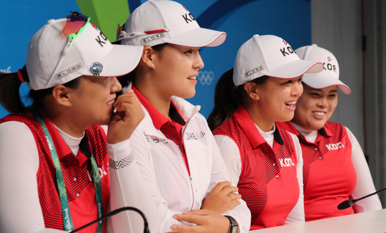 The Korean golf team -- Amy Yang, Chun In-gee, Kim Sei-young and Park In-bee -- answer questions at the 2016 Rio Olympics. [JOINT PRESS CORPS]