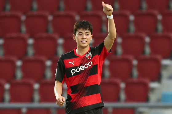 Pohang Steelers winger Lim Sang-hyub celebrates after scoring his team's second goal against Thailand's Ratchaburi FC during their AFC Champions League Group G match at Rajamangala Stadium in Bangkok on Tuesday. [AFC]