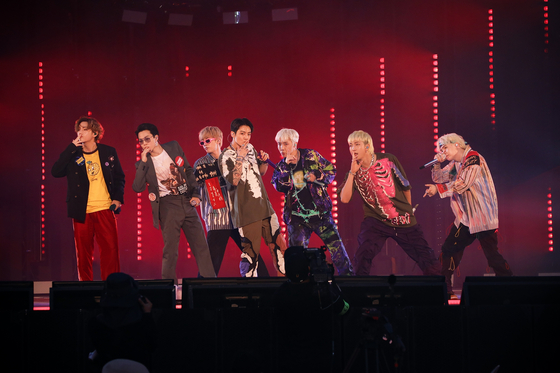 "Boy band BTS performs during ""BTS 2021 Muster Sowoozoo."" [BIG HIT MUSIC]"