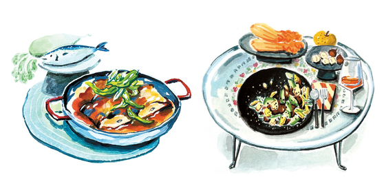 """Illustrations of Korean dishes that could pair well with natural wine are shown in new recipe book """"Anju & Banju."""" [POETS & PUNKS]"""