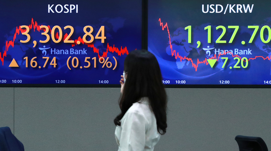 A board at Hana Bank in Seoul on Friday shows the Kospi closing above 3,300 for the first time. The Kospi has hit new hights14 times this year, and five times this month alone. [NEWS1]