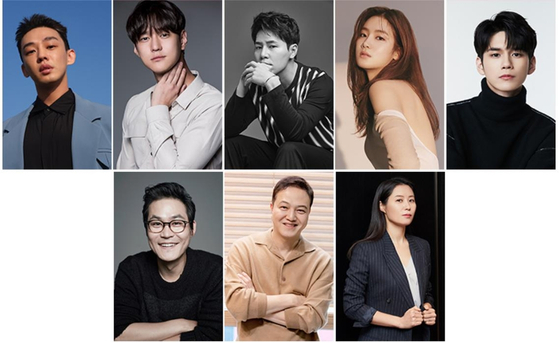 The cast of Netflix's new action flick ″Seoul Vibe,″ clockwise from top left: Yoo Ah-in, Ko Kyung-pyo, Lee Kyu-hyung, Park Ju-hyun, Ong Seong-wu, Moon So-ri, Jung Woong-in and Kim Sung-kyun. [EACH AGENCY]