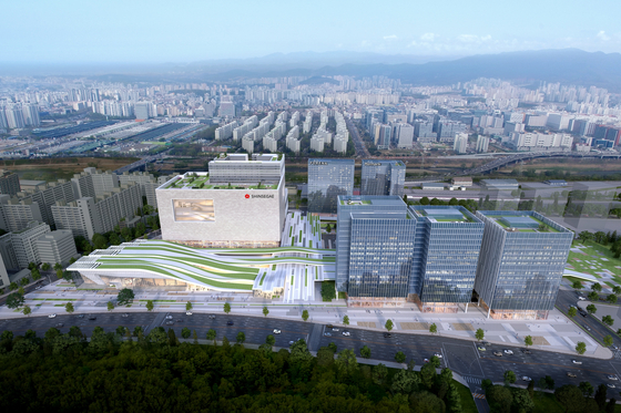 A computer-generated graphic shows what the Suseo Station Transfer Center could look like after construction is complete. [HANWHA E&C]