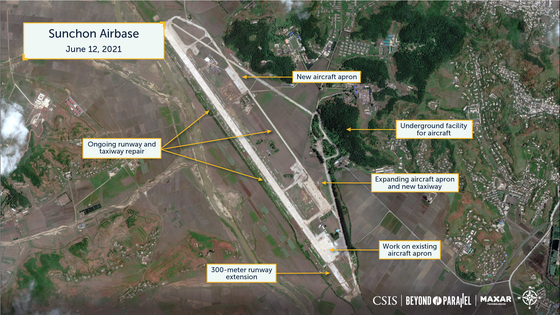 A satellite image from June 12 showing ongoing repairs and extensions to runways and aircraft aprons at Sunchon Air Base in South Pyongan, North Korea. [CSIS]