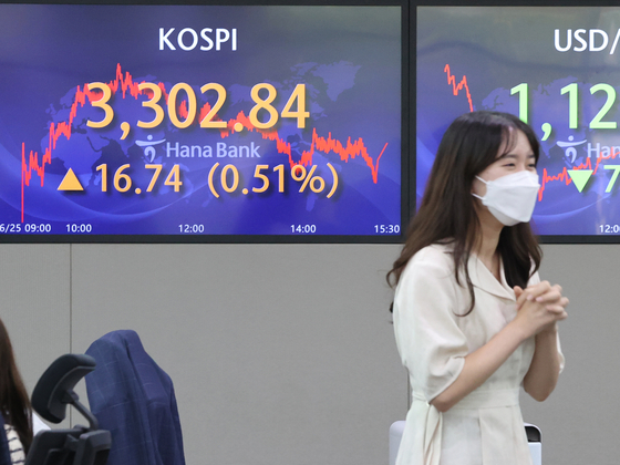 A board at Hana Bank's trading room in central Seoul on June 25 shows the Kospi breaking the 3,300-mark for the first time. The index closed at 3,302.84 points, up 16.74 points, or 0.51 from the previous trading day. [YONHAP]