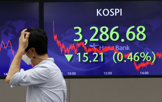 A screen in Hana Bank's trading room in central Seoul shows the Kospi closing at 3,286.68 points on Tuesday, down 15.21 points, or 0.46 percent, from the previous trading day. [YONHAP]