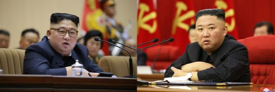 North Korean leader Kim Jong-un in 2018 on the left and in 2021 on the right. [KCNA]