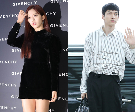 AOA's Chanmi, left, and VIXX's Hyuk are currently shooting for upcoming film ″Unusual Girl.″ [ILGAN SPORTS]