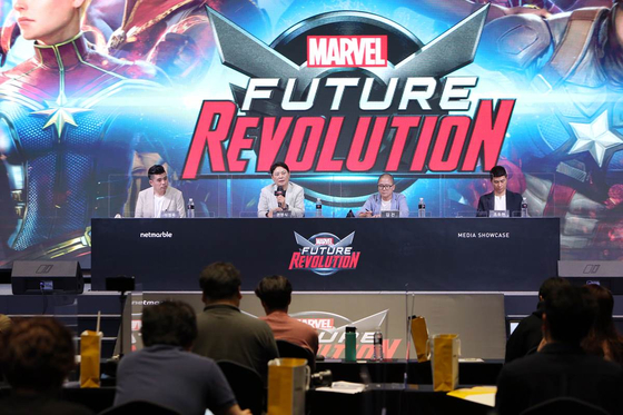Netmarble executives introduce mobile game Marvel Future Revolution at a press conference, Tuesday, at the company's headquarters in Guro District, western Seoul. [NETMARBLE]