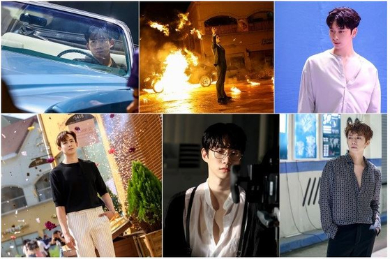 Behind-the-scenes photographs of 2PM members as they film the music video of ″Make It.″ [JYP ENTERTAINMENT]