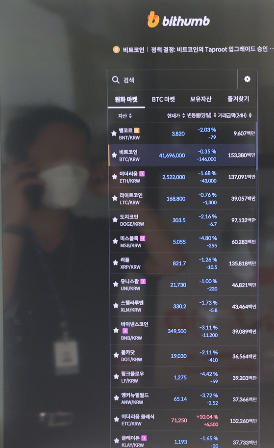 Prices of bitcoin and other cryptocurrencies are displayed on a digital screen at Bithumb's office in Gangnam District, southern Seoul, on Wednesday. Bitcoin traded around 41.5 million won ($37,000) on Wednesday morning, up 3.84 percent compared to 24 hours ago. [YONHAP]