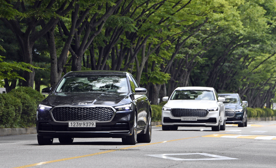 Kia's new K9 sedans are on the road. [KIA]