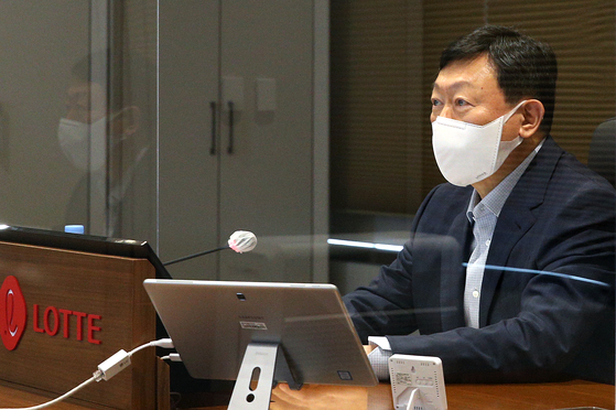 Lotte Group Chairman Shin Dong-bin attends the group's biannual value creation meeting on Thursday. [LOTTE CORPORATION]
