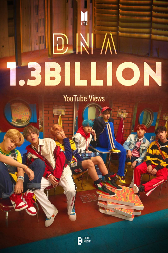 An image that celebrates the 1.3 billion view mark of the K-pop superstar band BTS's music video ″DNA.″