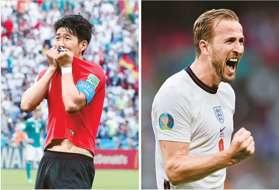 Left: Son Heung-min celebrates after scoring the insurance goal for Korea against Germany at Kazan Arena in Kazan, Russia on June 27, 2018. Right: Harry Kane celebrates after scoring the insurance goal for England against Germany at Wembley Stadium in London on Tuesday. [AP/YONHAP]