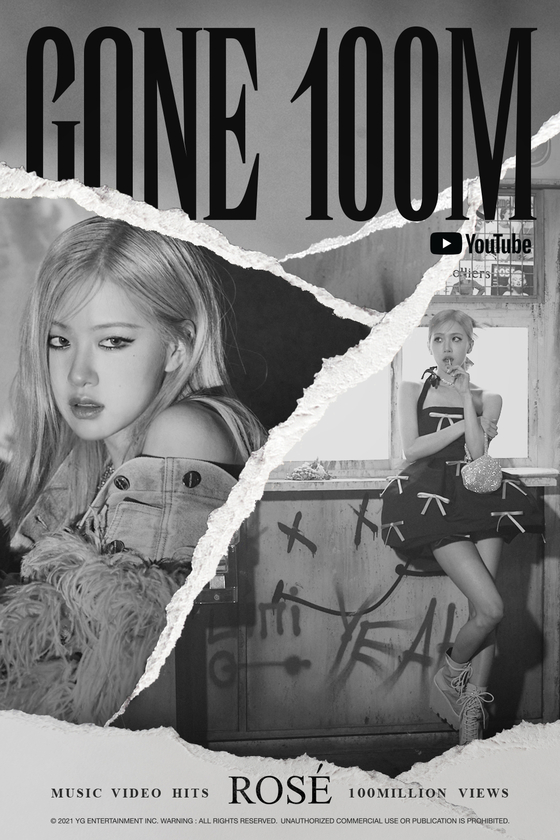 The music video for Blackpink Rose's ″Gone″ (2021) surpassed 100 million views on Monday. [YG ENTERTAINMENT]
